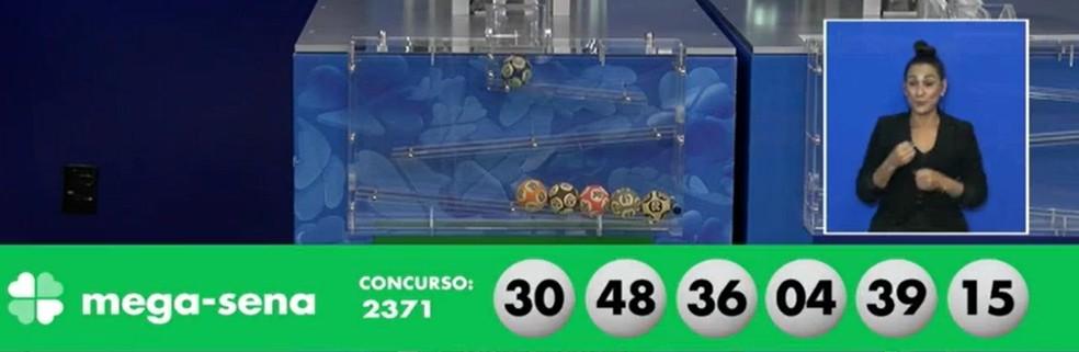 Resultado do concurso 2.371 da Mega-Sena, sorteado em 12 de maio de 2021 — Foto: Reprodução