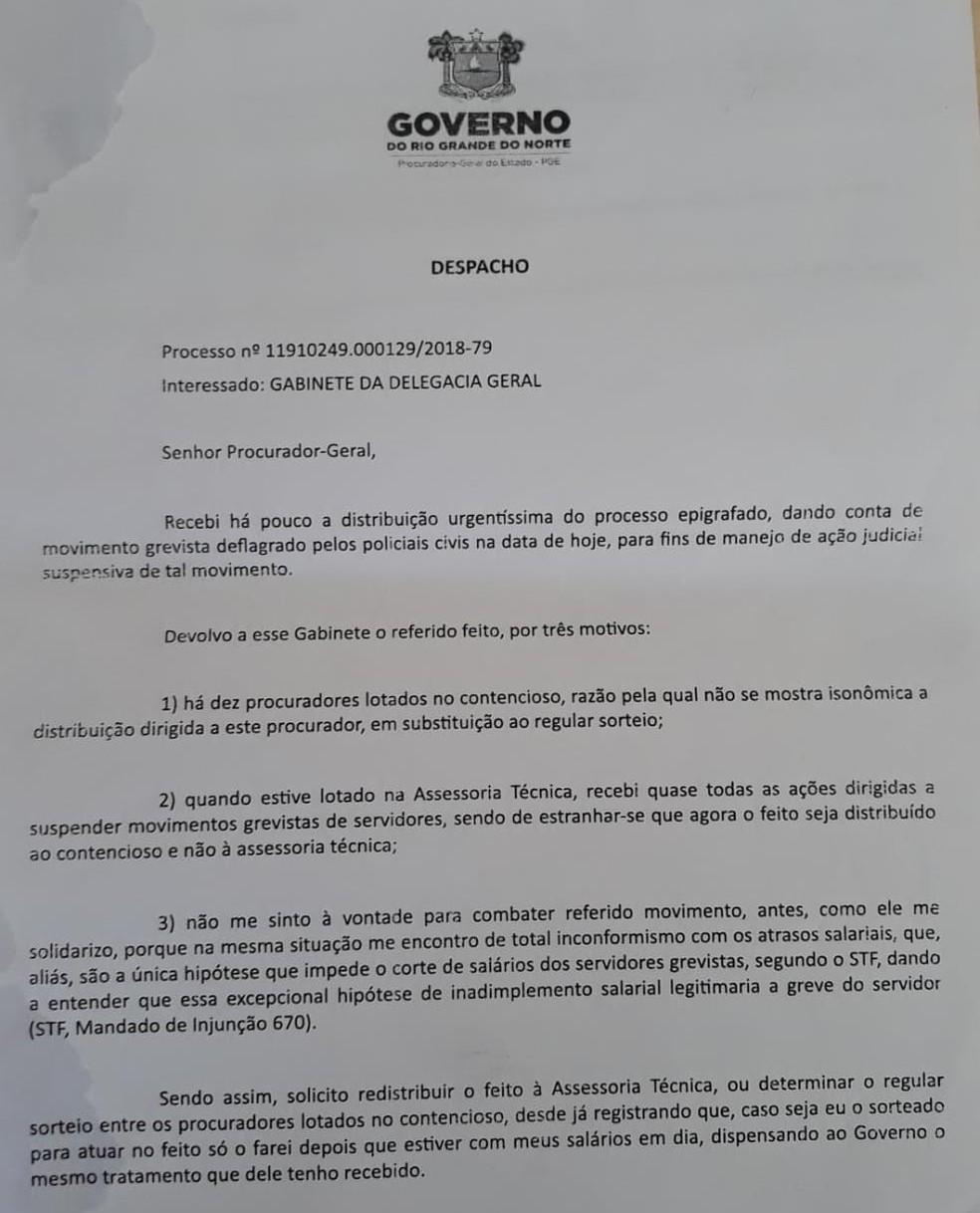 Em despacho, procurador do RN se nega a fazer ação contra paralisação de policiais civis  — Foto: Reprodução