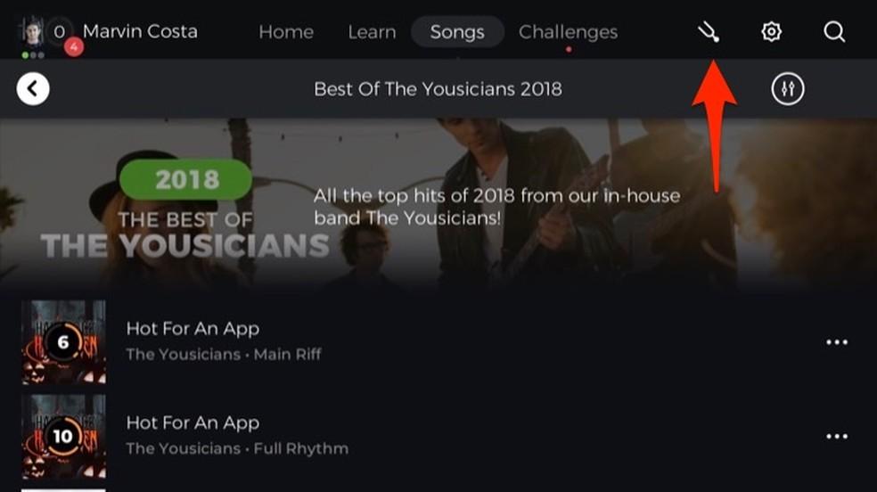 Ação para abrir o afinador digital do aplicativo Yousician — Foto: Reprodução/Marvin Costa