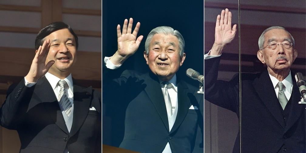 Da esquerda para a direita, o príncipe Naruhito, o imperador Akihito e o falecido imperador Hirohito acenam para a multidão no Ano Novo, nos anos de 2019, 2011 e 1986, respectivamente. — Foto: Kazuhiro Nogi, AFP, Junji Kurokawa/AFP