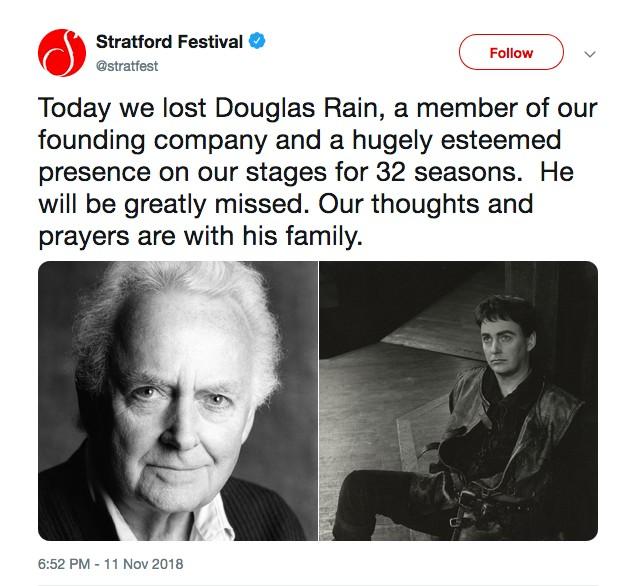 A publicação da companhia de teatro fundada pelo ator Douglas Rain lamentando a morte do artista de 90 anos (Foto: Twitter)