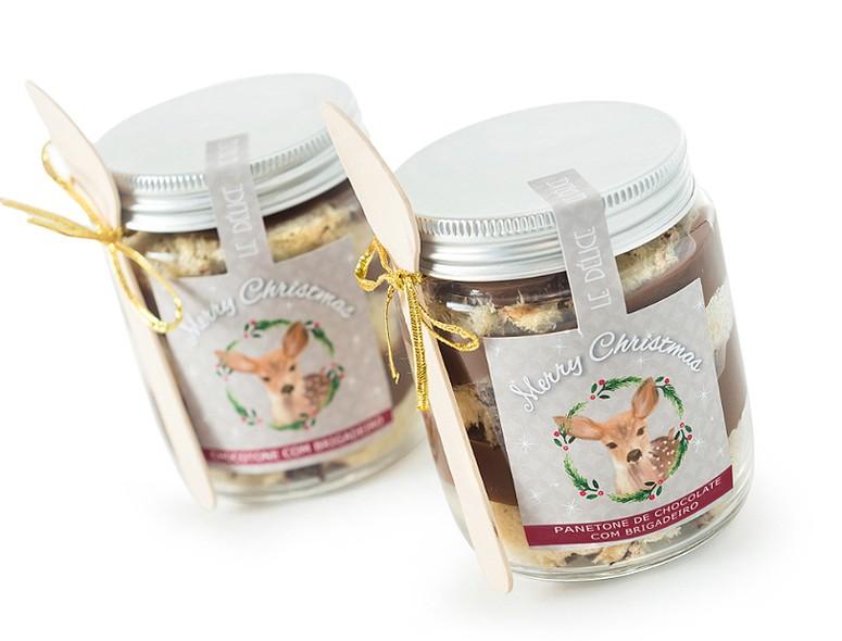 O saboroso chocotone no pote com brigadeiro já vem pronto para o consumo e é acompanhado de colher. Da Le Délice (ledelice.com.br). 160 g | R$ 18