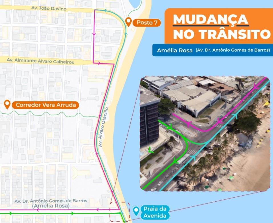 Acesso para antiga Avenida Amélia Rosa, em Maceió, terá mudança a partir de sábado