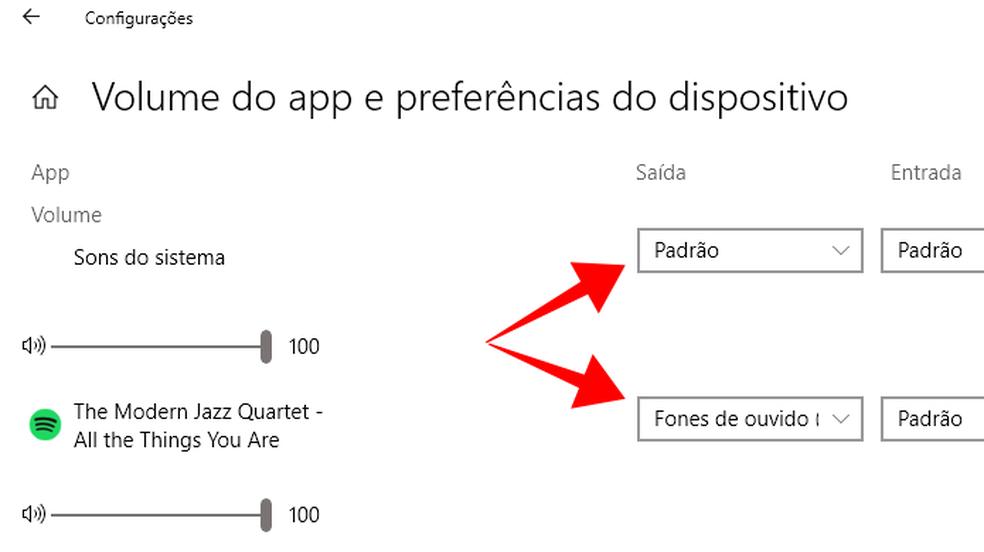 Windows 10 permite separar transmissão de sons de apps (Foto: Reprodução/Paulo Alves)