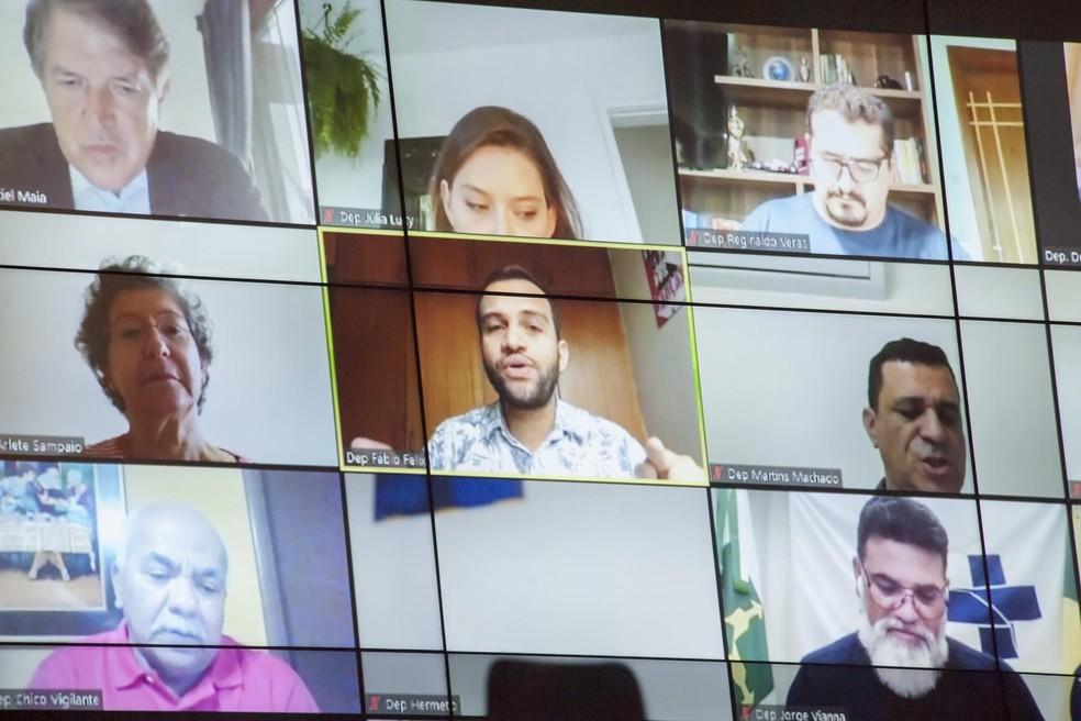 Telão transmite sessão remota na Câmara Legislativa do Distrito Federal  — Foto: CLDF/Divulgação
