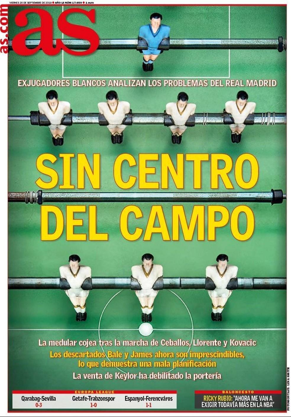 """""""As"""" aponta o meio-campo como principal problema do Real Madrid — Foto: Reprodução/As"""