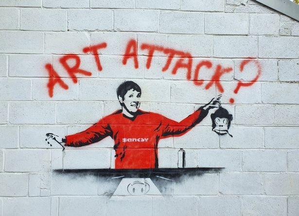 Obra de Banksy que faz piada com o vínculo de sua identidade a ex-apresentador infantil (Foto: reprodução)