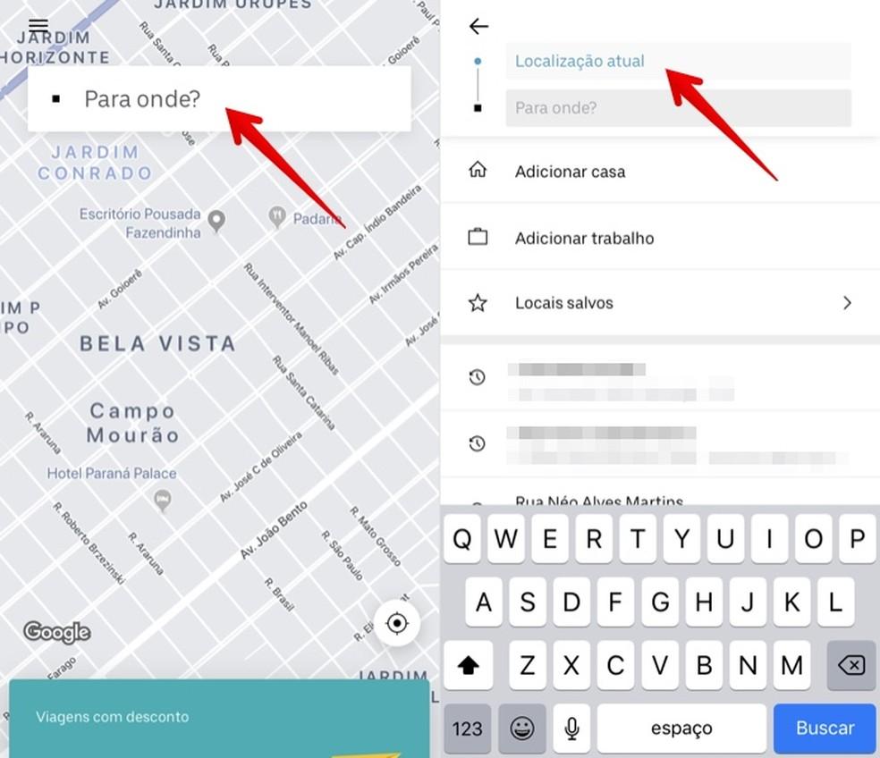 Digite o endereço de embarque no Uber — Foto: Reprodução/Helito Beggiora