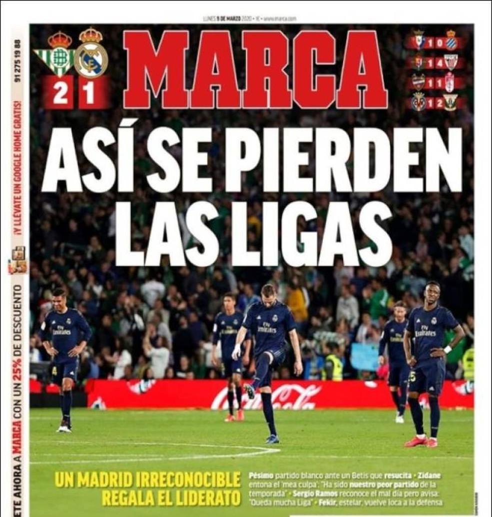 """Capa do """"Marca"""" do último jogo antes da paralisação: """"Assim se perdem as ligas"""" — Foto: Reprodução/Marca"""