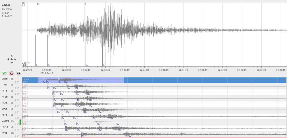 Imagem das formas de ondas sísmicas, que foram recebidas pelas estações da Rede Sismográfica Brasileira (Foto: Reprodução)