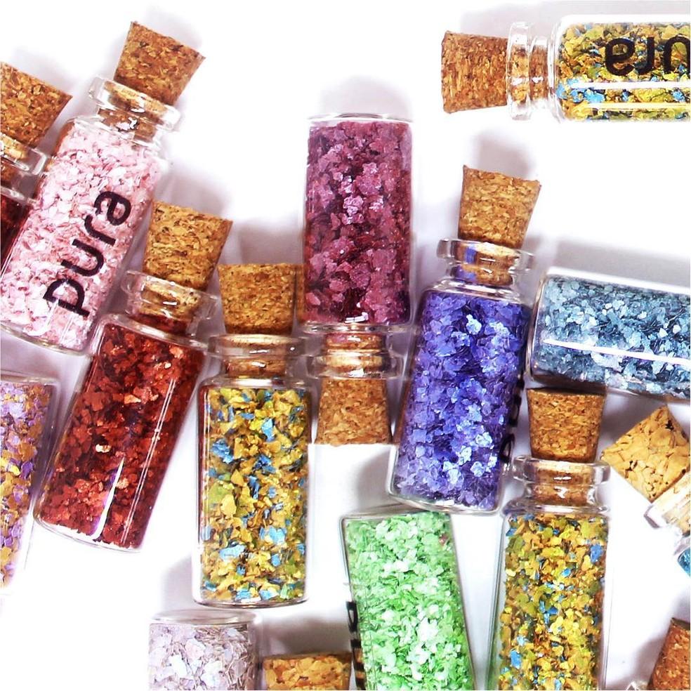 Glitter biodegradável da Pura Bioglitter — Foto: Divulgação