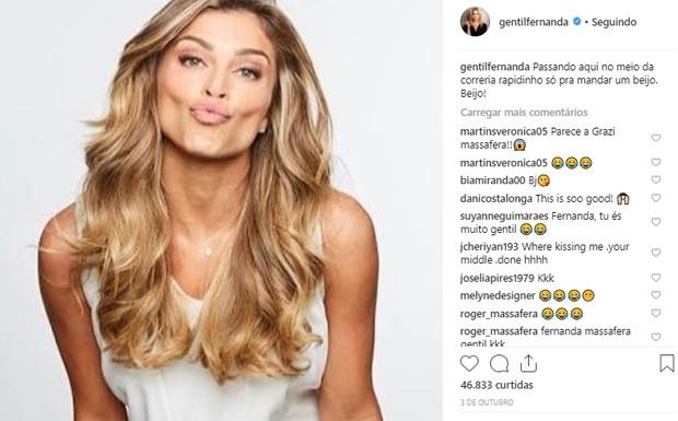 Fernanda Gentil posta foto de Grazi e brinca ao falar que trata-se de si mesma (Foto: Reprodução/Instagram)