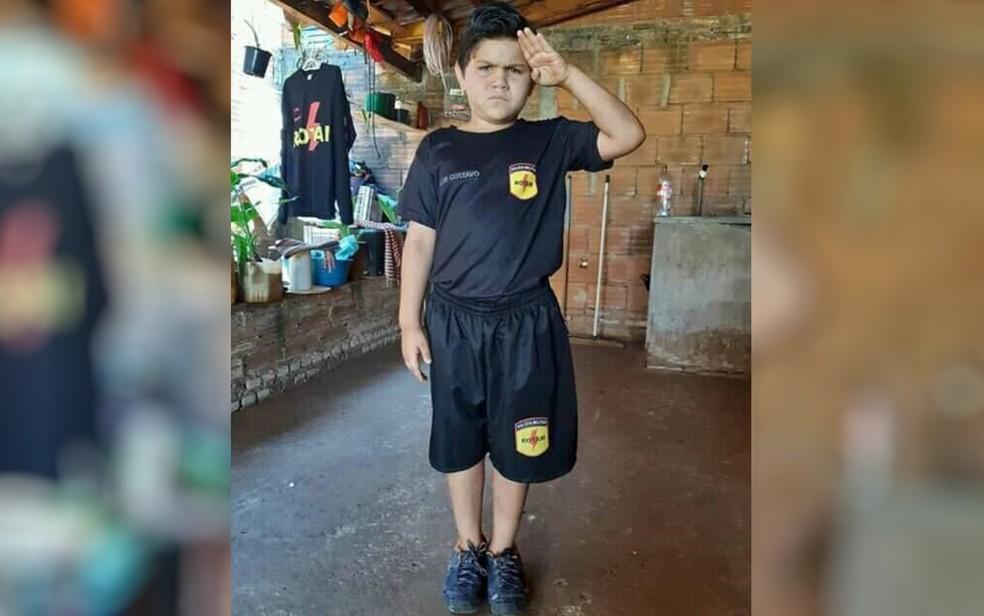 Luis Gustavo Rodrigues com uniforme da Rotam, em Caçu, Goiás — Foto: Reprodução/Facebook
