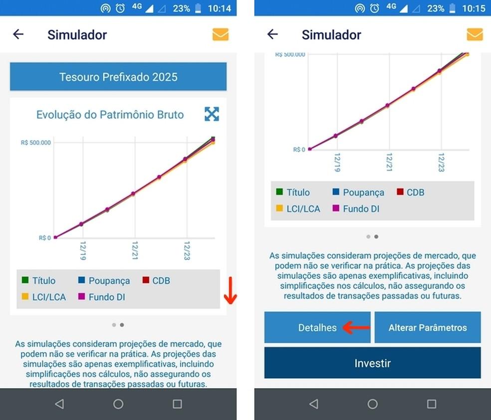Botão para comparativo detalhado de títulos com base em dados inseridos no simulador do Tesouro Direto — Foto: Reprodução/Raquel Freire