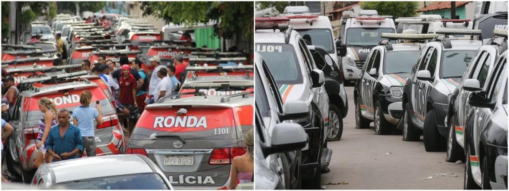Em 2012 e 2020, policiais retiraram carros da PM dos batalhões e esvaziaram pneus para impedir atuação da categoria — Foto: Arquivo SVM/Fabiane de Paula/SVM