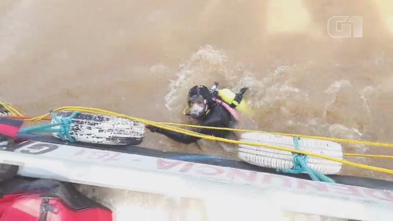 Momento em que mergulhadores se preparam para procura de corpos
