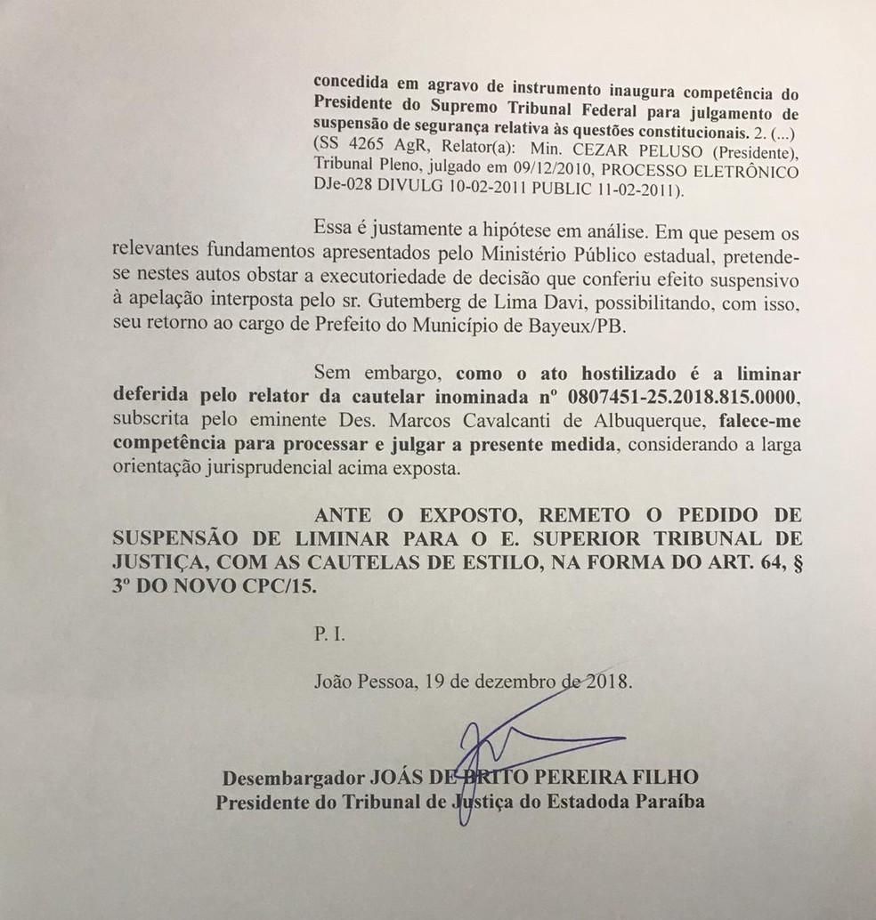 Decisão sobre posse de Berg Lima segue para STJ após recurso do MP — Foto: Divulgação/TJPB