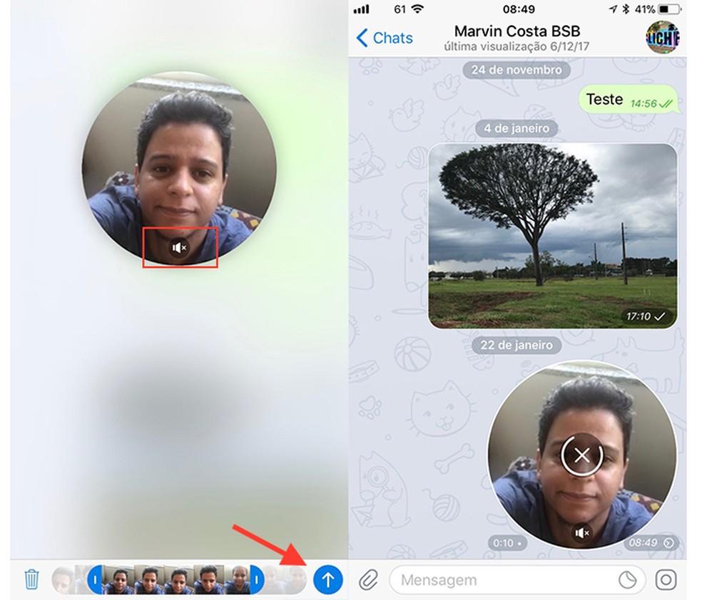 Ação para habilitar ou desligar o áudio e enviar um vídeo rápido no chat do Telegram (Foto: Reprodução/Marvin Costa)