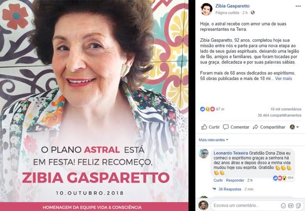 Perfil oficial de Zíbia Gasparetto anuncia sua morte (Foto: Reprodução/Facebook)