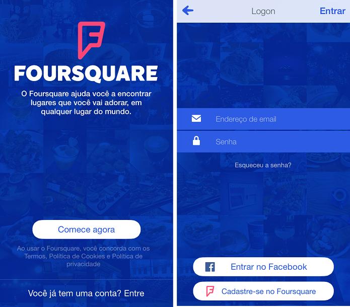 Conectando-se ao Foursquare (Foto: Reprodução/Aline Jesus)