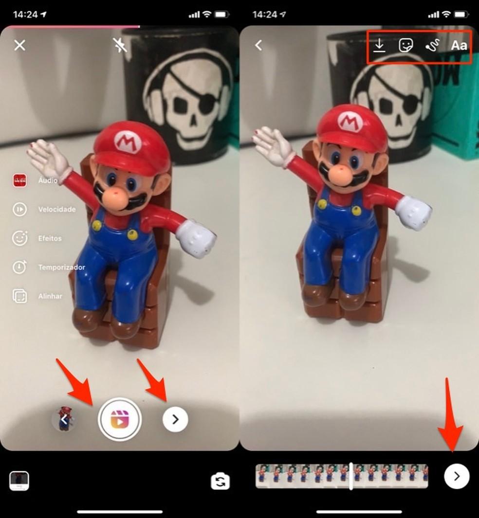 Ação para gravar um vídeo no Instagram Reels — Foto: Reprodução/Marvin Costa