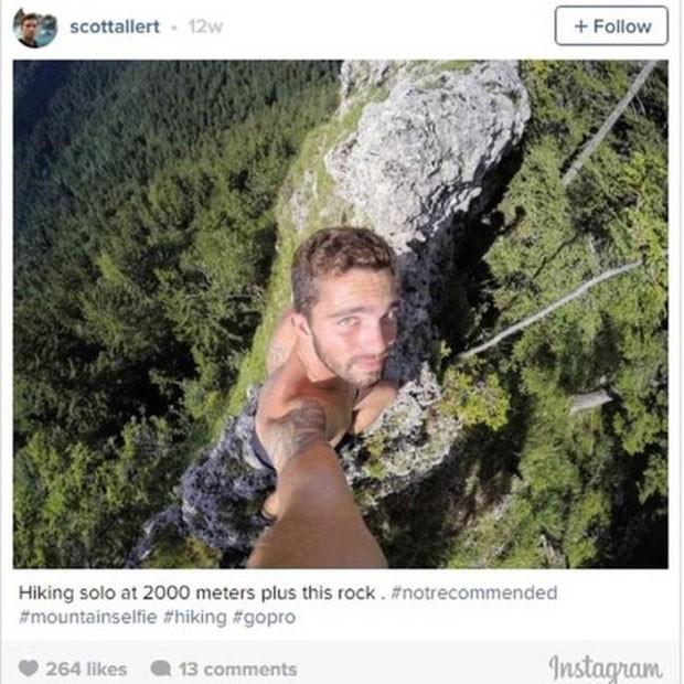 Para conquistar seguidores, usuários do Instagram se arriscam em selfies nas alturas. (Foto: Reprodução/BBC)