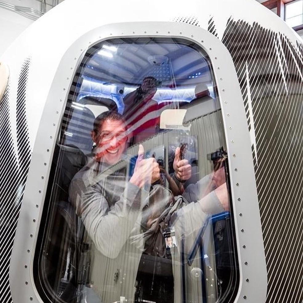 Glen de Vries, um dos passageiros do 2º voo tripulado da Blue Origin — Foto: Blue Origin
