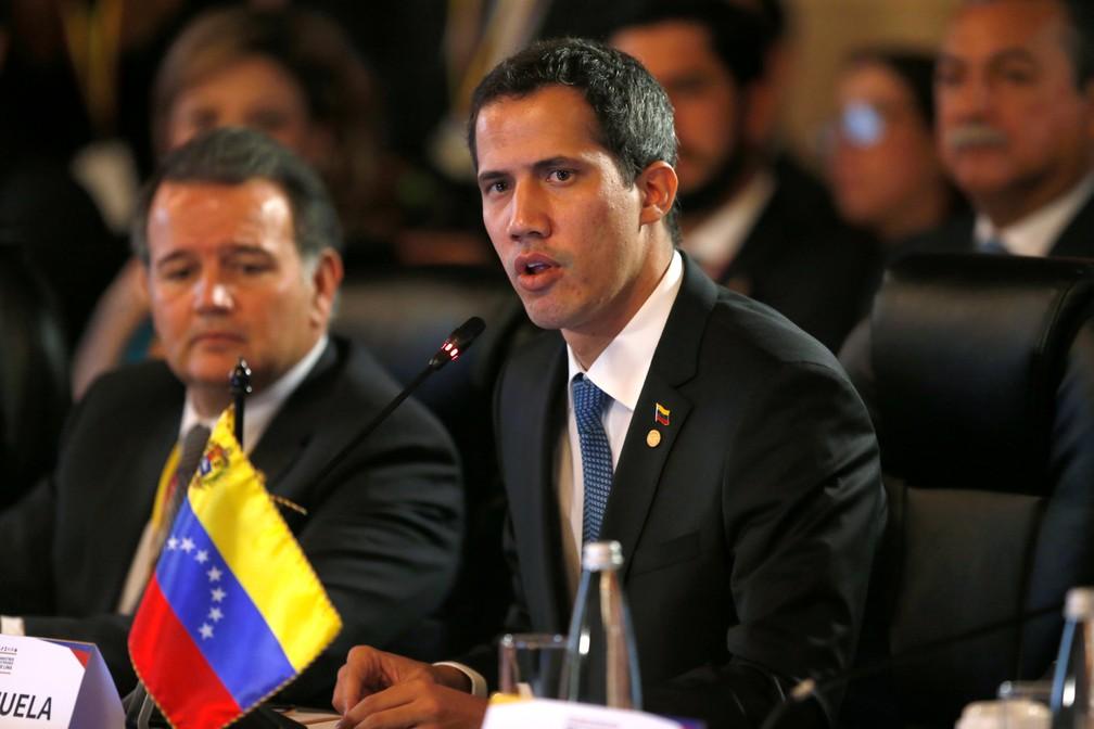 Juan Guaidó discursa durante encontro do Grupo de Lima sobre situação na Venezuela — Foto: Luisa Gonzales/Reuters