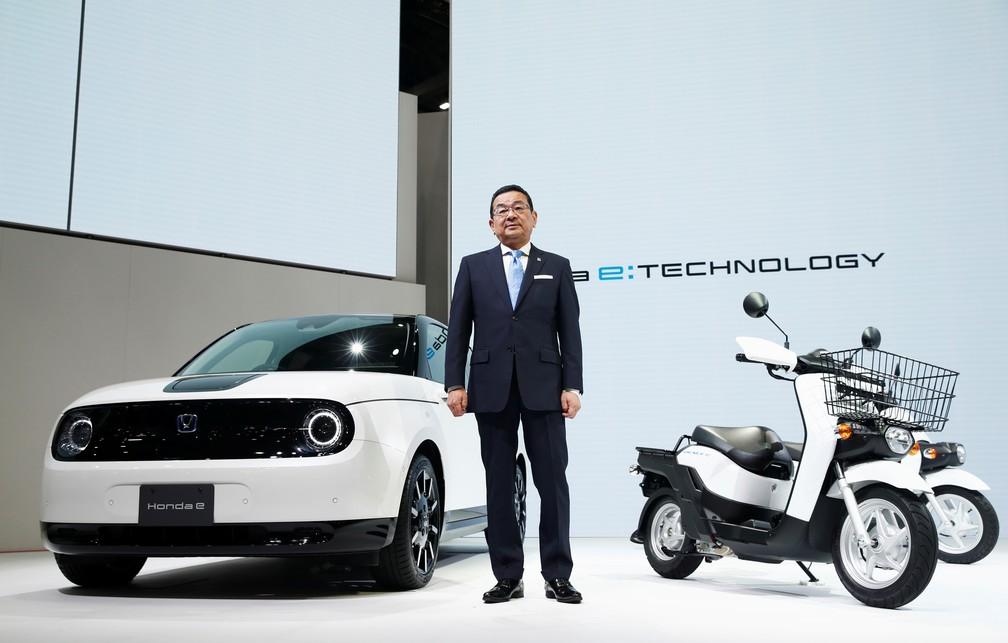 Presidente da Honda, Takahiro Hachigo, na apresentação da marca — Foto: Edgar Su/Reuters