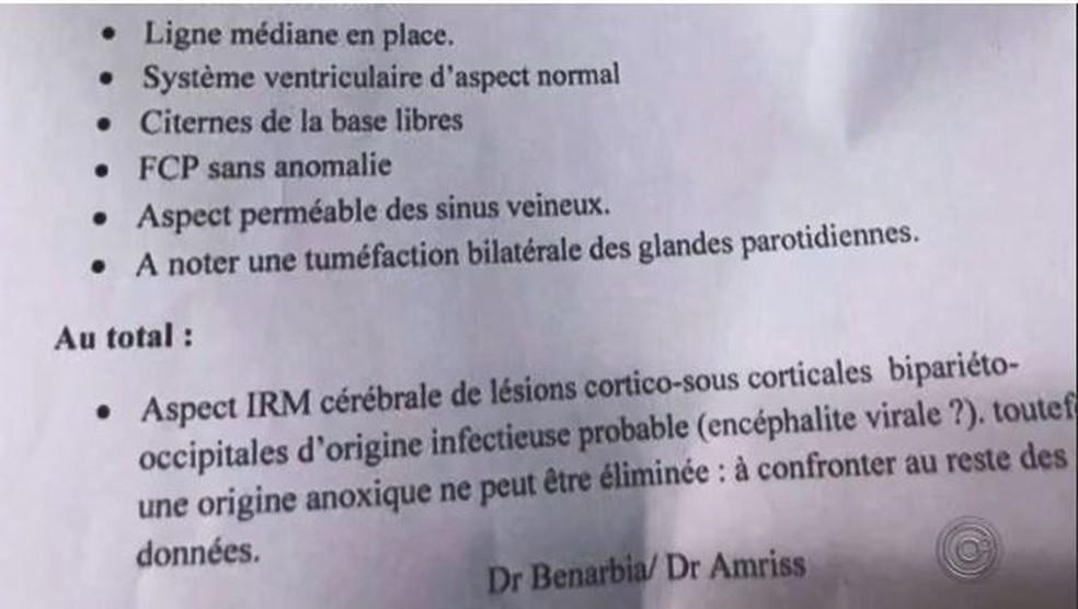 Laudo escrito em francês aponta que brasileiro teve uma lesão no cérebro possivelmente causada por uma infecção viral  — Foto: Arquivo Pessoal