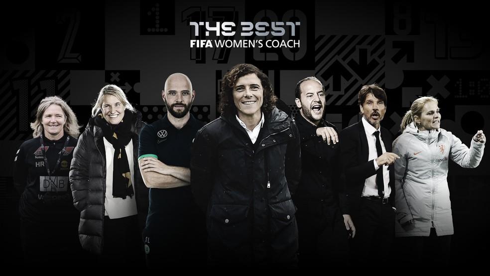 Candidatos a técnicos de times femininos no Fifa The Best 2020 — Foto: Reprodução