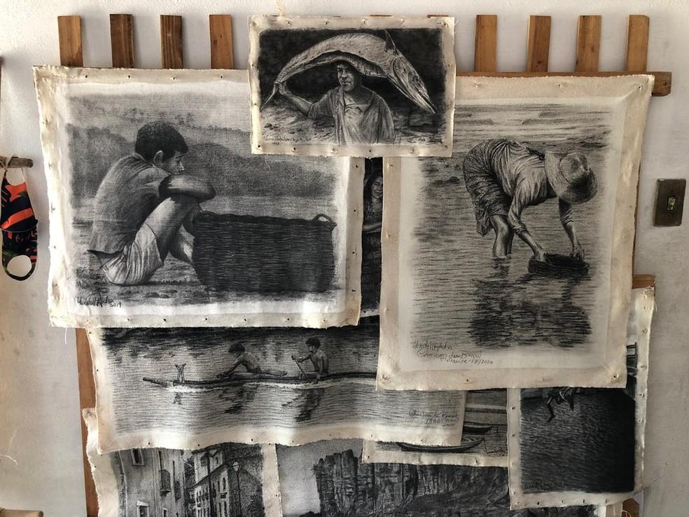 Pinturas com carvão criadas pelo artista plástico maranhense, Uendell Rocha — Foto: Paulo Pontes