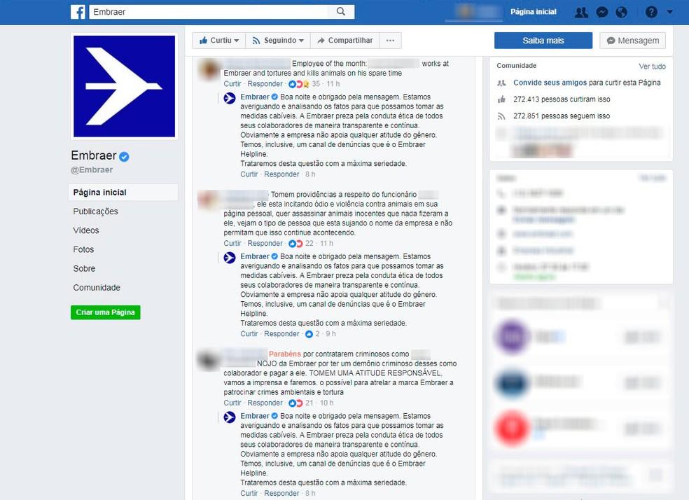 Página da empresa recebeu uma enxurrada de denúncias e críticas ao funcionário (Foto: Reprodução/Facebook)