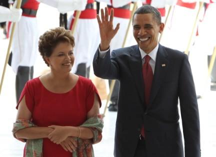 Dilma Rousseff recebe Barack Obama no Palácio do Planalto, em março de 2011