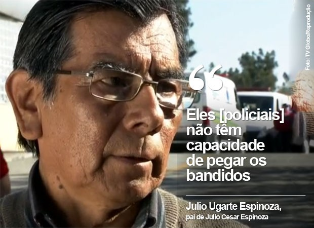 Julio Ugarte Espinoza, pai de Julio Cesar Espinoza, morto após perseguição policial (Foto: TV Globo/Reprodução)