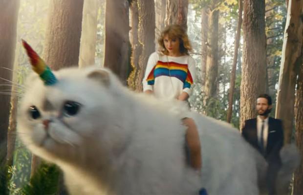 Taylor Swift estrela comercial com participação de sua gata Olivia (Foto: Reprodução)