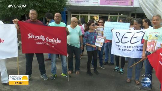 Funcionários do Hospital Roberto Santos fazem protesto e paralisam serviço por duas horas