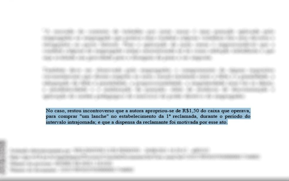 TRT anula demissão por justa causa contra trabalhadora que pegou R$ 1,50 no caixa para comprar lanche, em Goiás — Foto: Reprodução/TRT