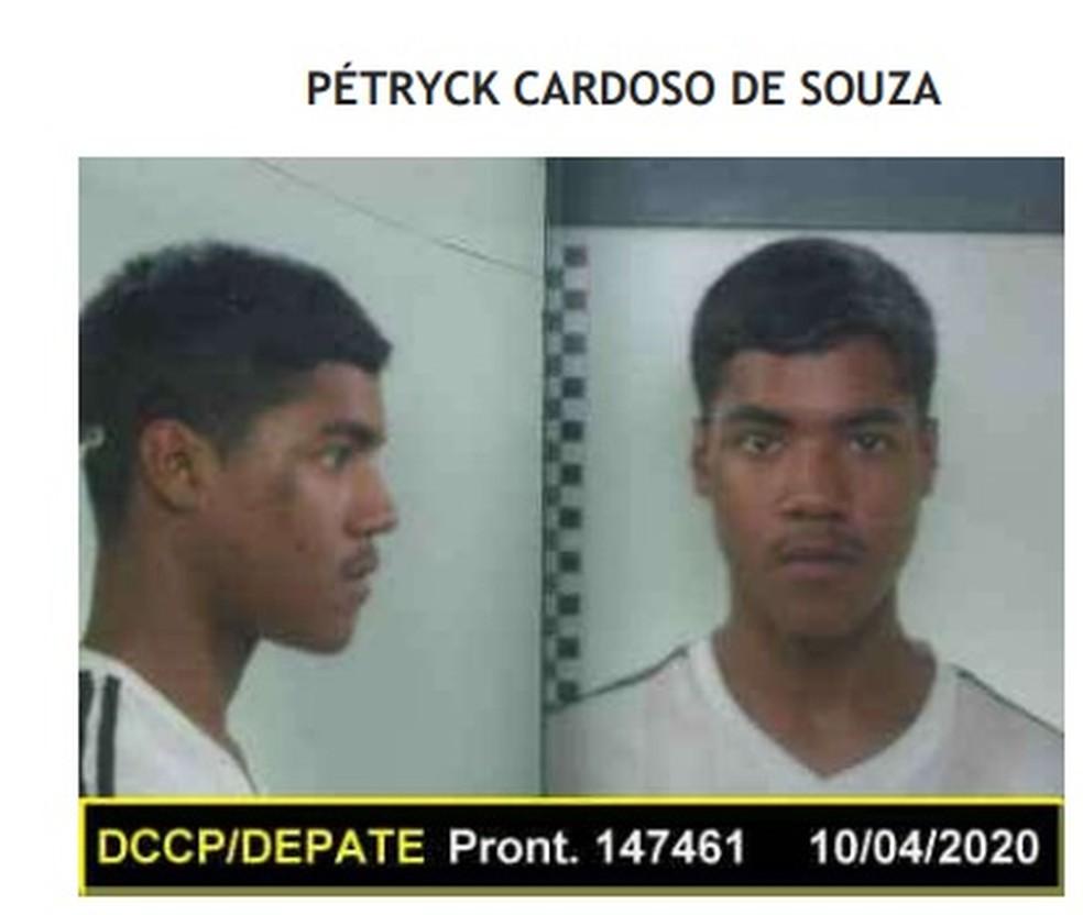 Pétryck Cardoso de Souza é considerado foragido, segundo Seap — Foto: Reprodução