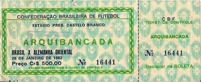 RN - Ingresso Brasil x Alemanha Oriental Natal (Foto: Reprodução)