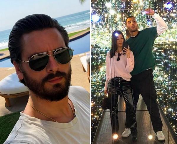 O empresário Scott Disick e sua ex, a socialite Kourtney Kardashian, com o namorado, o modelo Younes Bendjima (Foto: Instagram)