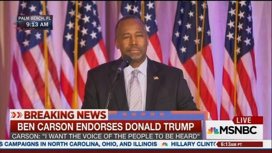 Ex-candidato Ben Carson anuncia apoio a Donald Trump