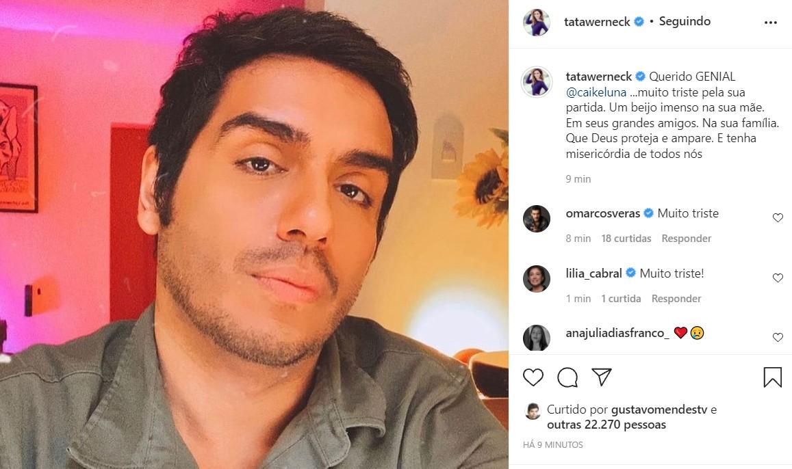 Tata Werneck lamenta morte de Caike Luna (Foto: Reprodução/Instagram)