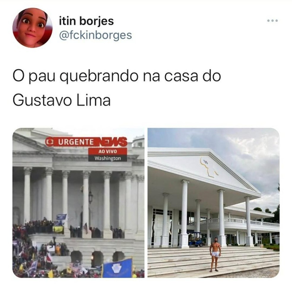 Internautas criam meme e comparam mansão do cantor Gusttavo Lima com a Casa Branca — Foto: Reprodução/Twitter