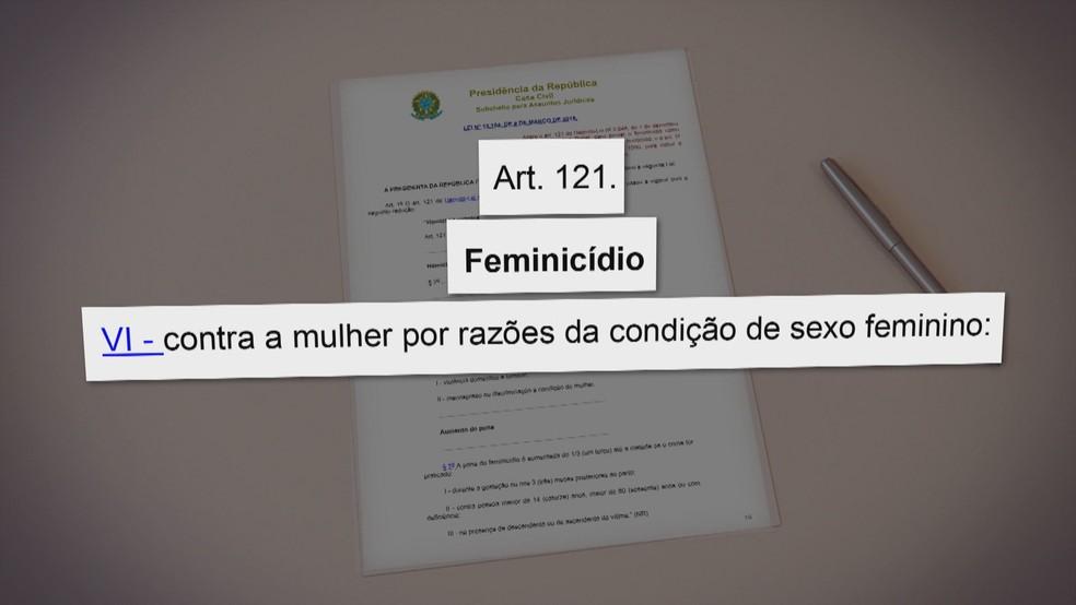 O crime de feminicídio é tratado homicídio qualificado pelo Código Penal Brasileiro — Foto: TV Globo/Reprodução