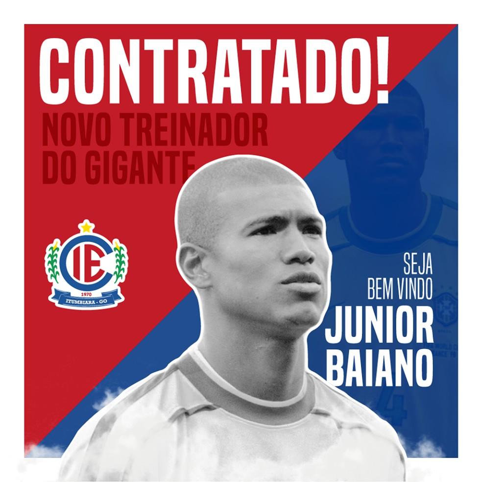 Júnior Baiano será técnico do Itumbiara em 2019 — Foto: Divulgação / Itumbiara
