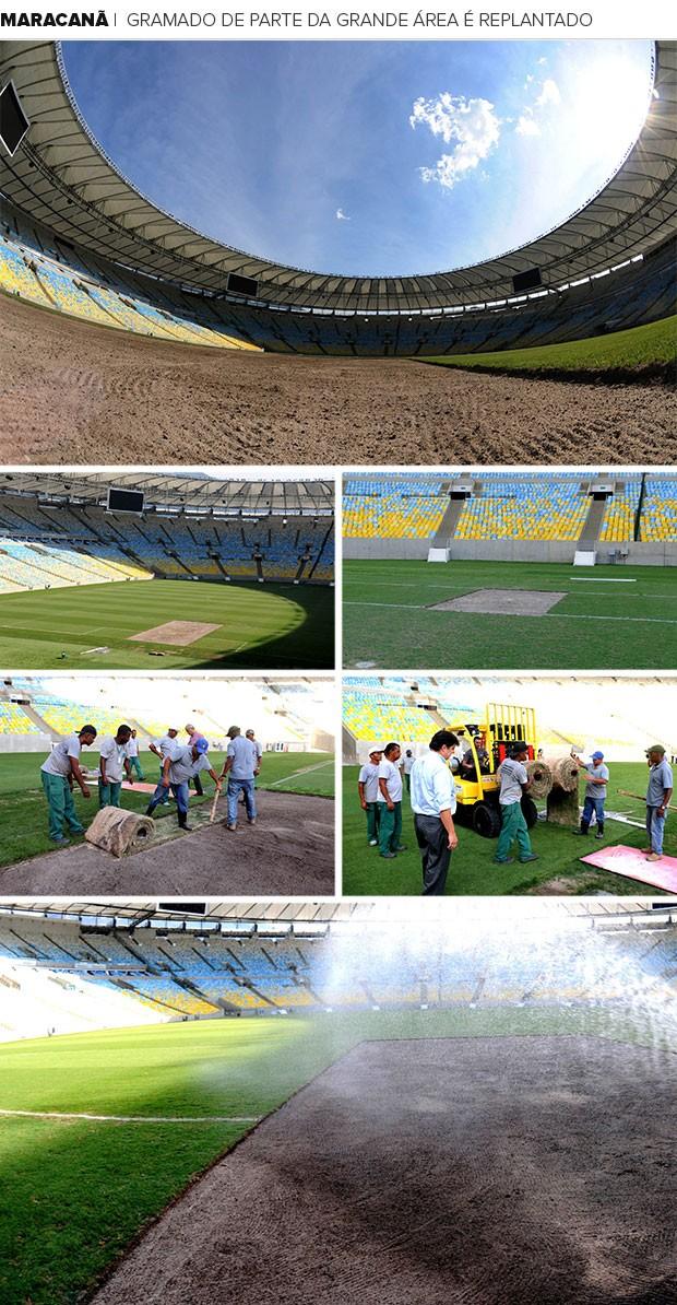 Mosaico Maracanã gramado Replantado (Foto: Editoria de Arte)