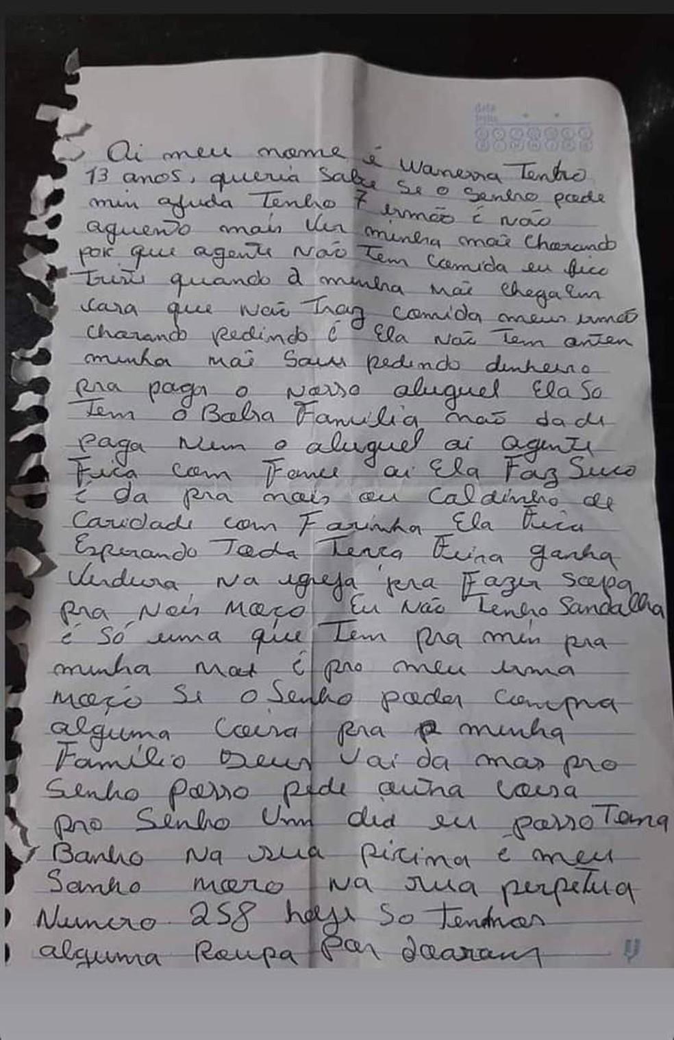 Carta de adolescente viralizou e reuniu uma rede de solidariedade para ajudar a família — Foto: Arquivo pessoal