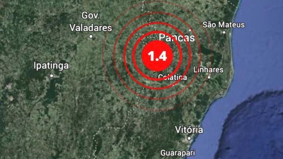 Tremor de terra de magnitude 1.4 foi registrado em Pancas, no Noroeste do ES — Foto: Reprodução/TV Gazeta