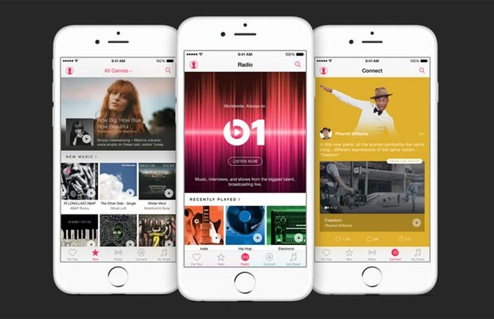 -  Music, novo serviço de streaming da Apple.  Foto: Divulgação/Apple
